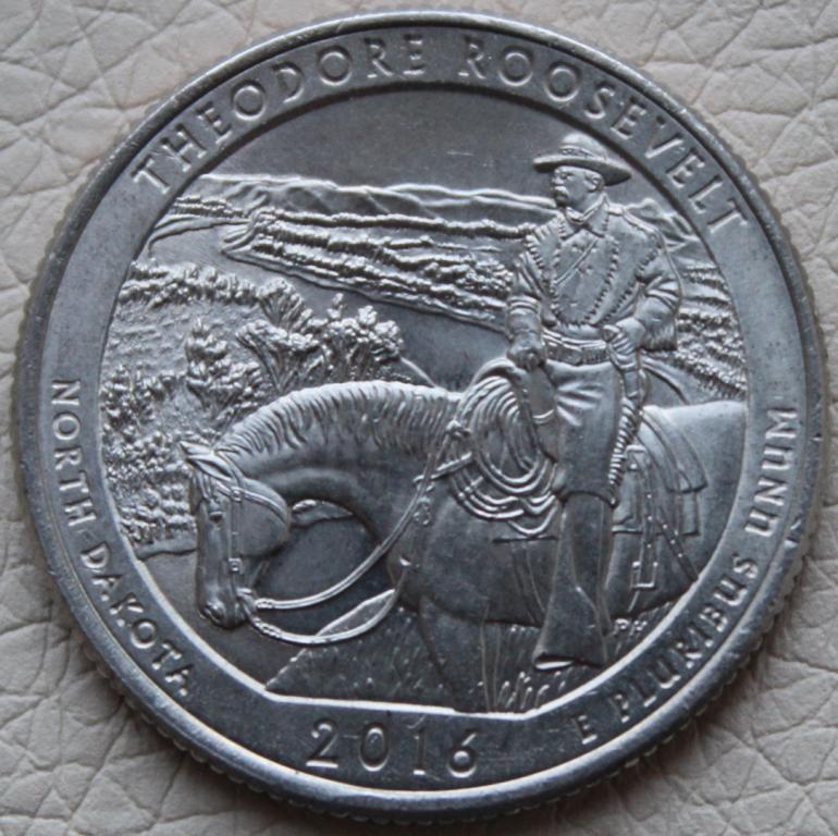 """США . ¼ доллара 2016 г . Национальный парк Теодор-Рузвельт . """"P"""""""