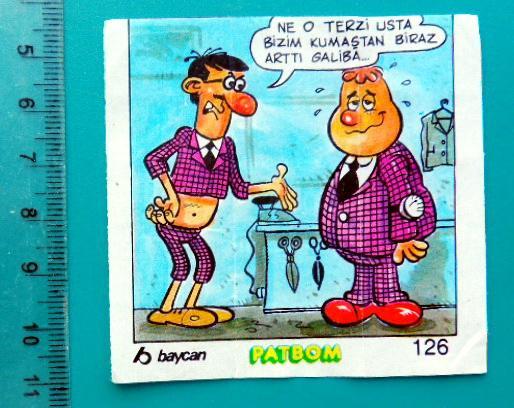 ВКЛАДЫШИ PATBOM комиксы 1 штука cS (128) №126
