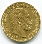 Германия 20 марок, 1887 год. Пруссия. Вильгельм. ЗОЛОТО! 900 ПРОБА. ВЕС 7,92 ГР