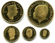 Чад. Набор монет 1970 года в футляре. Золото.