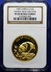 Золотая Медаль в слабе 1987 год, NGC PF 69 Ultra Cameo Панда Новый Орлеан.