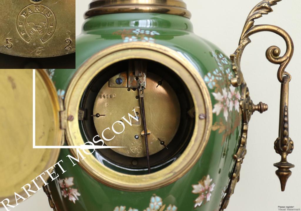 Часы антикварные подсвечник бронза фарфор Франция 6