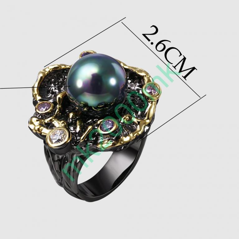 Кольцо натуральный жемчуг SHELL золото GF