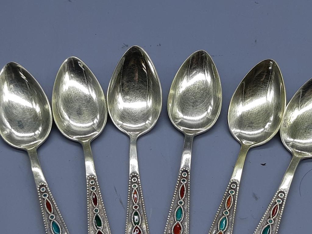 Чайная Ложка 6 шт Серебро 875 проба Позолота Эмаль Вес; 90,32 грамм Оригинал  с рубля
