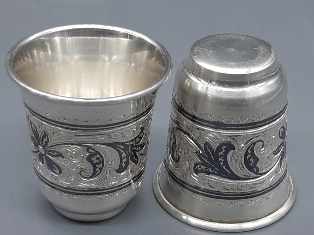 Рюмка Кубачи Серебро 875 пр 2 штуки одним лотом  вес - 103,37 гр h - 5,5*4,5 см Оригинал с рубля