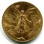 Мексика 50 Песо 1943 года. Редкий год. qwz. Золото