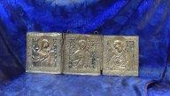 """Складень """"Деисусный чин"""" серебрение, петли. 2 эмали."""