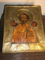 икона Николай  18-19 век  размер 23х28 толщина 2,5см латунный оклад