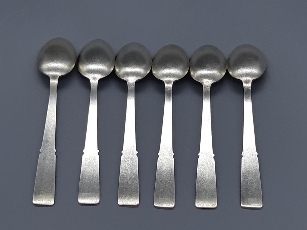 Чайная Ложка комплект 6 шт Серебро 875 проба Позолота  Вес 169,88 грамм  с рубля