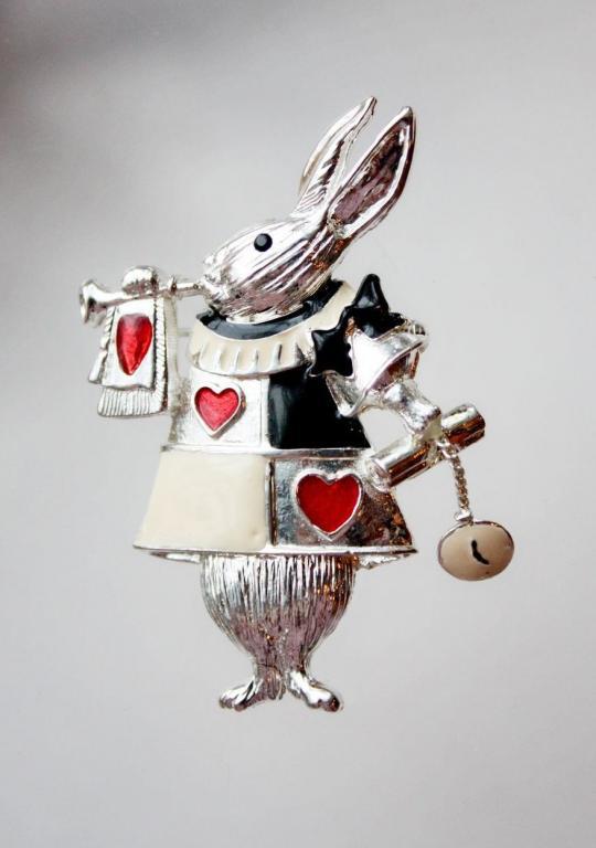 """Винтажная брошь """"Белый Кролик"""" (Алиса в стране Чудес) от Danecraft"""