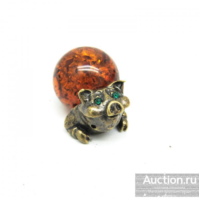 Настольная фигурка Поросёнок Янтарь бронза латунь миниатюра свинья хрюша свинка статуэтка 718