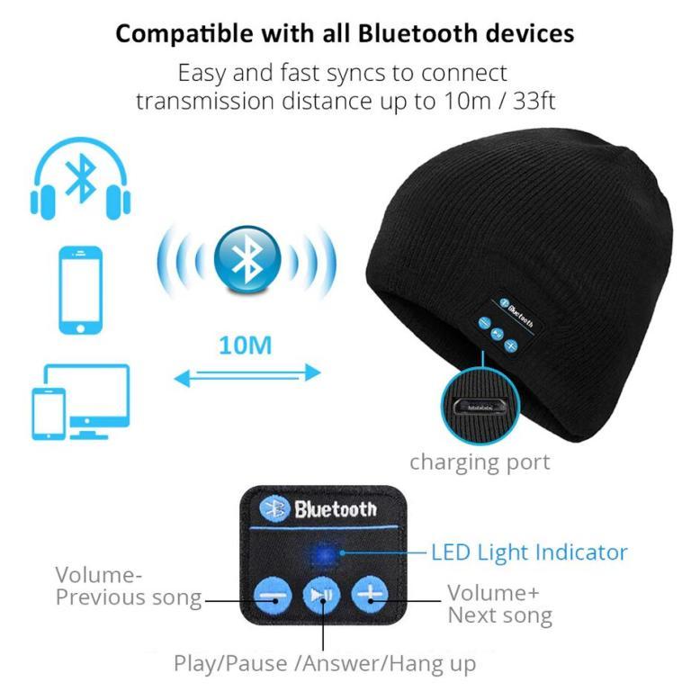 Музыкальная Шапка с Bluetooth Гарнитурой V3.0.