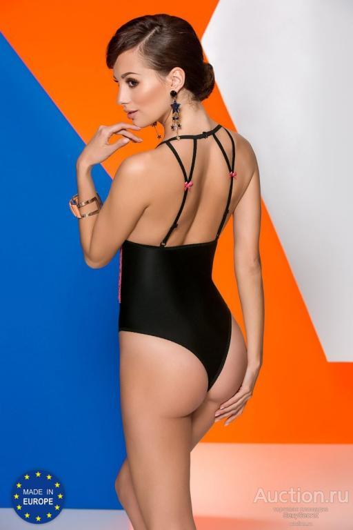 Avanua Пикантное боди Gloria с двухцветным кружевом (S-M / черный с малиновым)