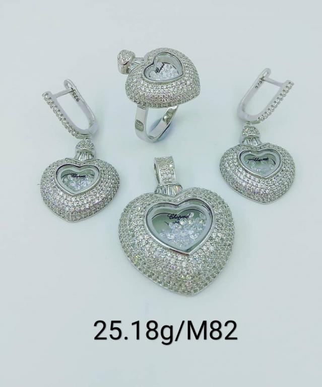 Серебряные серьги, кулон и кольцо.925-я проба.Четверка.Вес-25,18 гр.