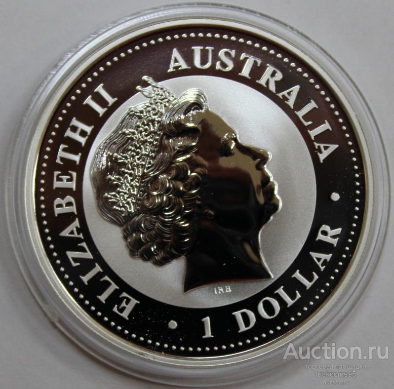 1 доллар 2001 год. Серия ЛУНАР: Год Змеи. В позолоте. Австралия. Серебро!