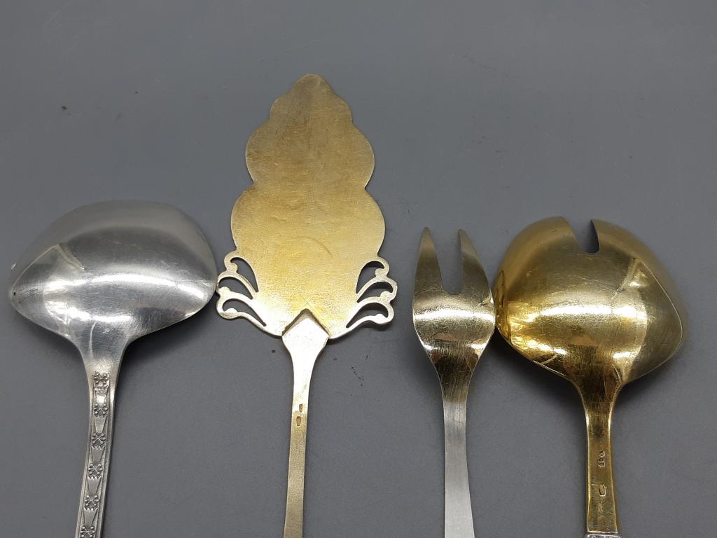 Ложка для салата 2 шт лопатка для торта вилка Разнобой Серебро 875 , 916 пр общ.вес 225,89 гр С Руб