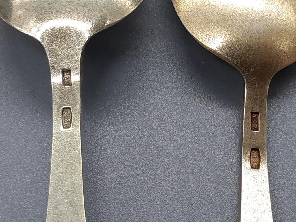 Чайная Кофейная Ложка 7 шт Разнобой Серебро 875 проба Позолота Эмаль Вес; 120,36 грамм Оригинал