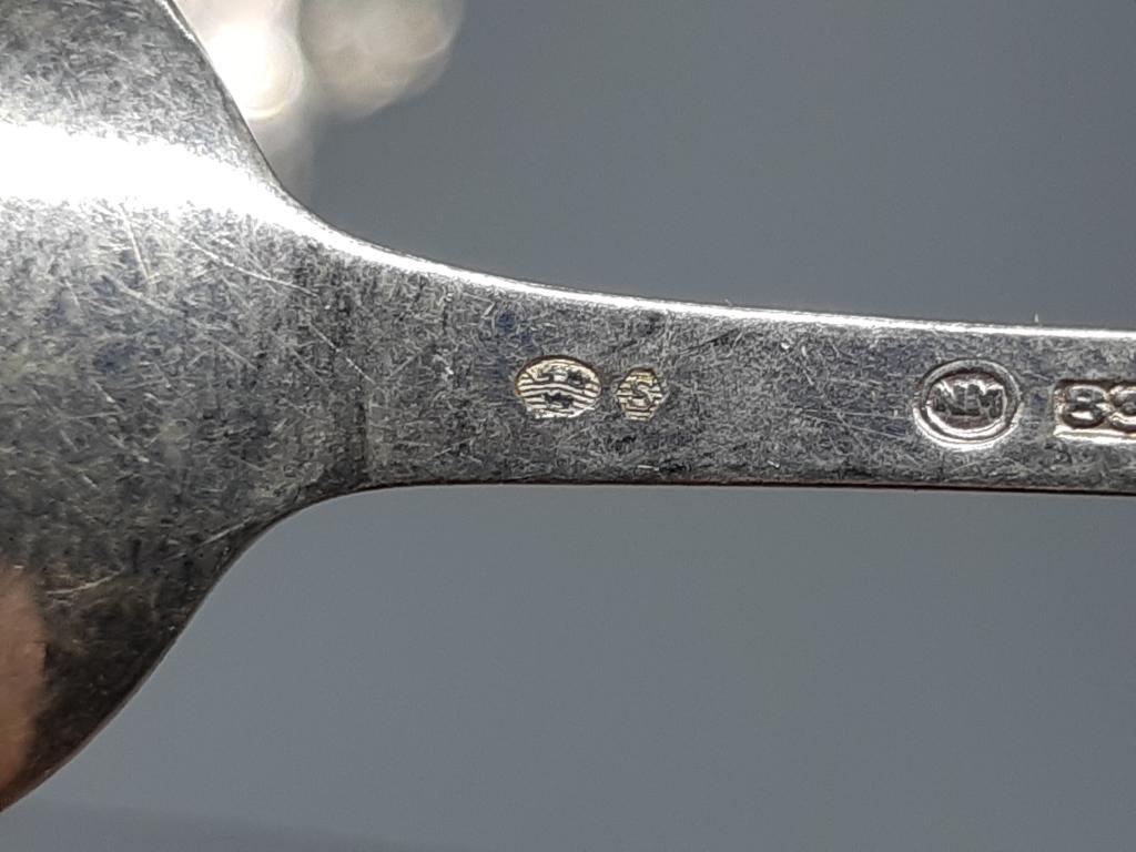 Кофейная ложка набор 6 шт Серебро клеймо 3 короны Швеция вес ;  гр 43,71 длина ; 10 см  С рубля