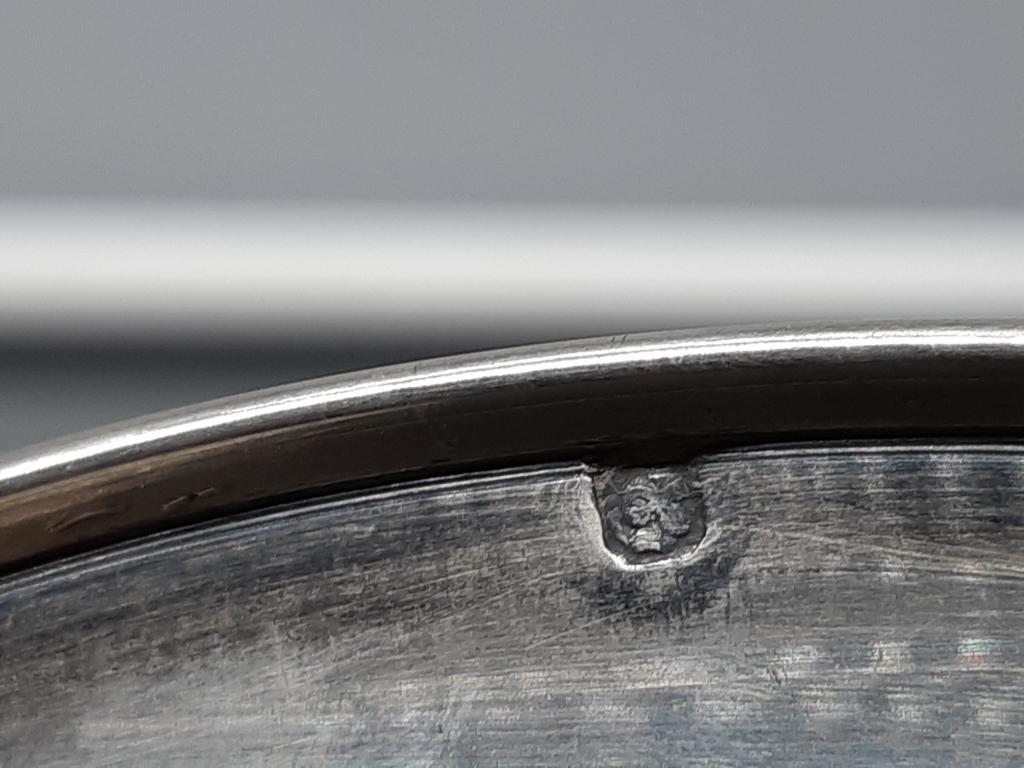 Чайная пара чашка  блюдце Серебро позолота голова Минервы Франция вес ;287 гр  с рубля