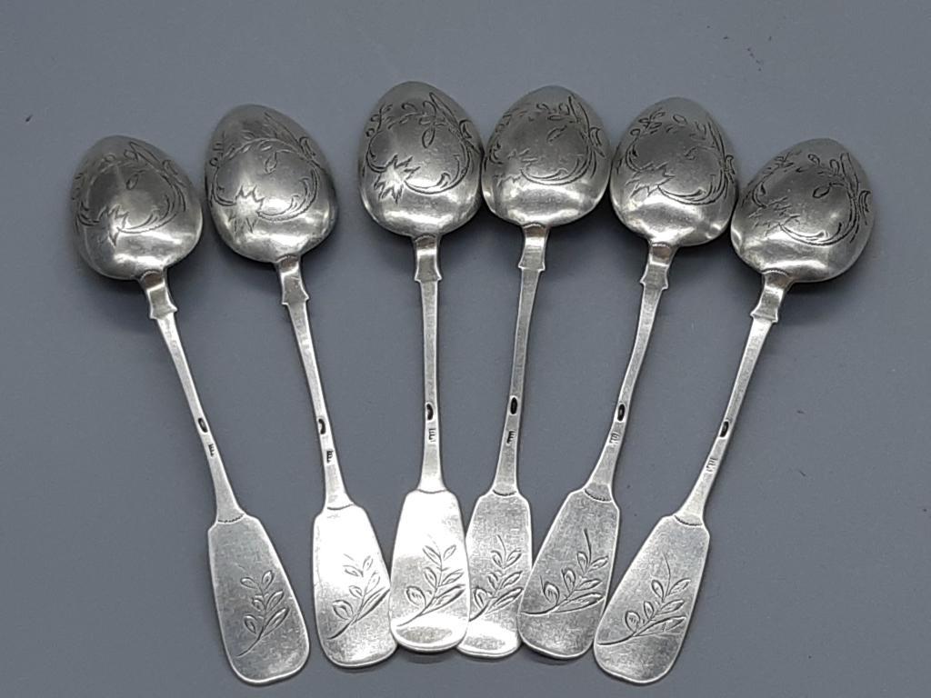 Чайная Ложка набор 6 шт Царизм Гравировка Серебро 84 пр 108,08 грамм длина ; 14 см с рубля
