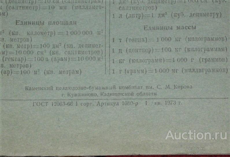Тетрадь чистая 1973 г. таблица пифагора