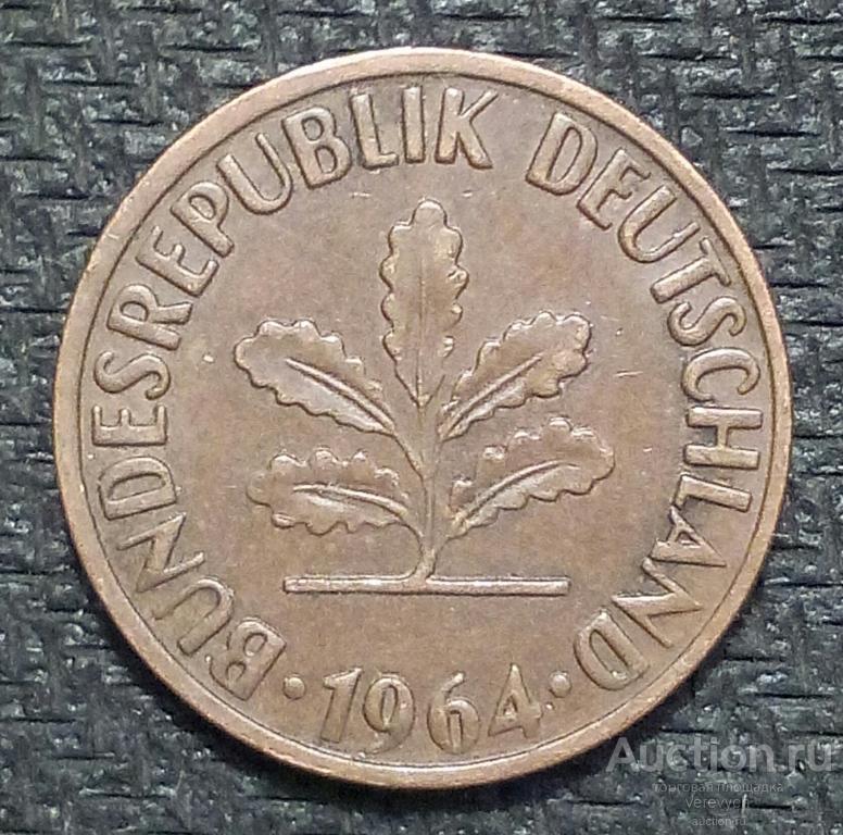 Германия. 2 ПФЕННИГА 1964 г. (162)