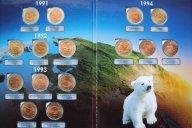 КРАСНАЯ КНИГА 1991 - 94 год: 15 монет в альбоме одним лотом. Торг с рубля !!!