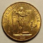 20 франков 1877 год. А. Франция. Золото 900 - 6.5 гр. Хорошая сохранность. Штемпельная. Редкость!