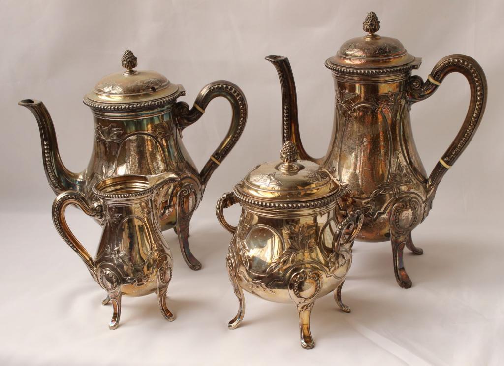 Франция сервиз кофейный Серебро 19 век Серебро 2,2 кг