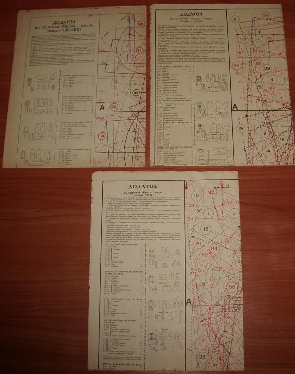Приложение выкройки к журналу Краса и мода зима 1979/80, 1981/82, весна 1983 СССР - 3 шт (1 лот)