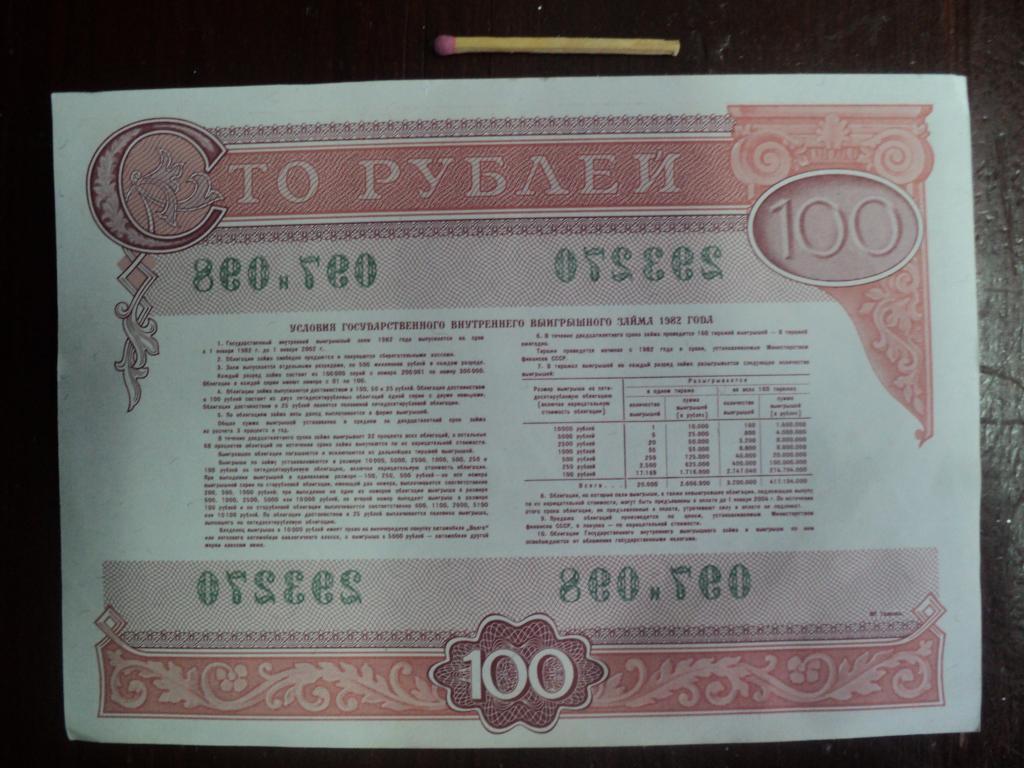 Облигация на сумму 100 рублей Государственного внутреннего выигрышного займа 1982 года