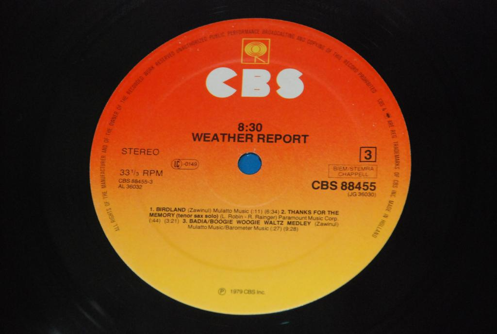 Weather Report – 8:30  1979   HOLLAND  COLUMBIA    2LP  -   VG+