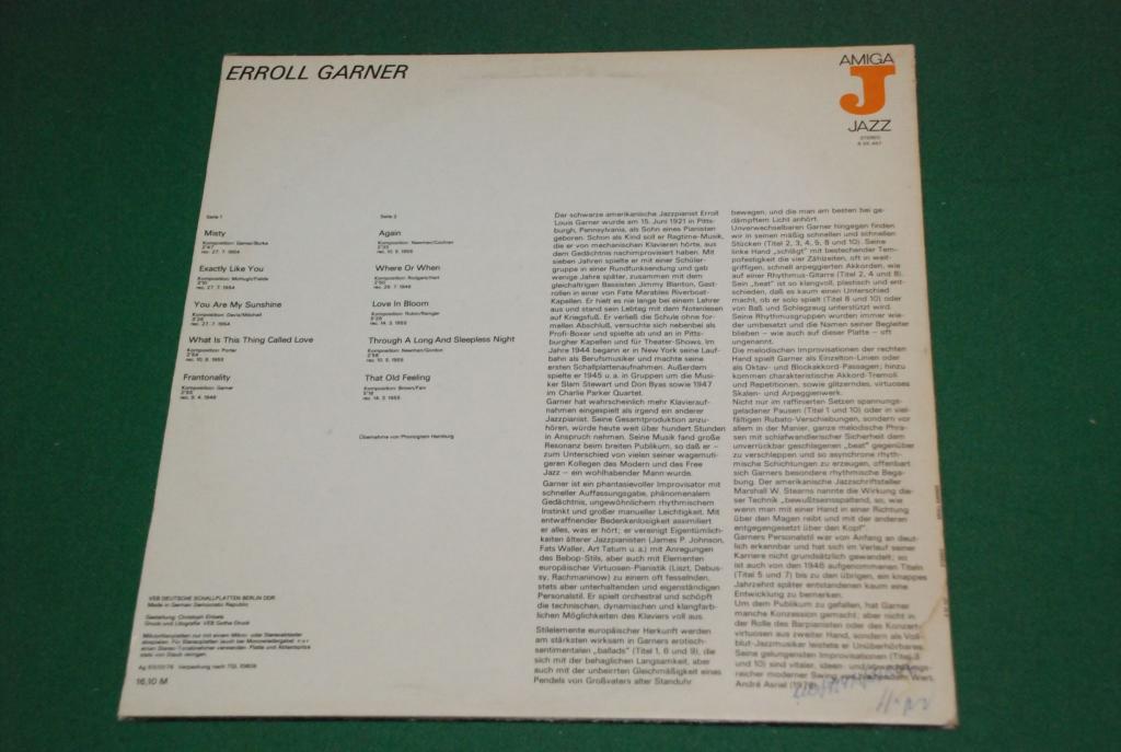 JAZZ  Erroll Garner  1976  GERMANY AMIGA DDR *  LP  NEAR MINT