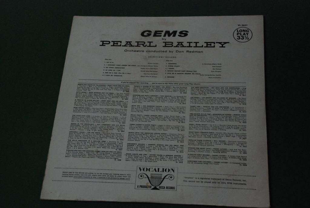 JAZZ  Pearl Bailey – Gems By Pearl Bailey  1958  USA  LP -   VG