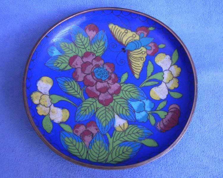 Старая эмалевая клуазоне тарелка 1930-1950-е г.