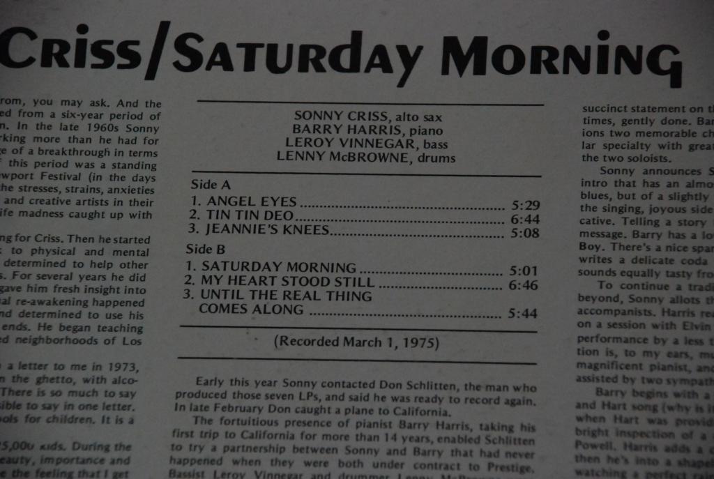 SONNY CRISS – Saturday Morning   * XANADU  JAZZ  1975  USA  LP -   EX