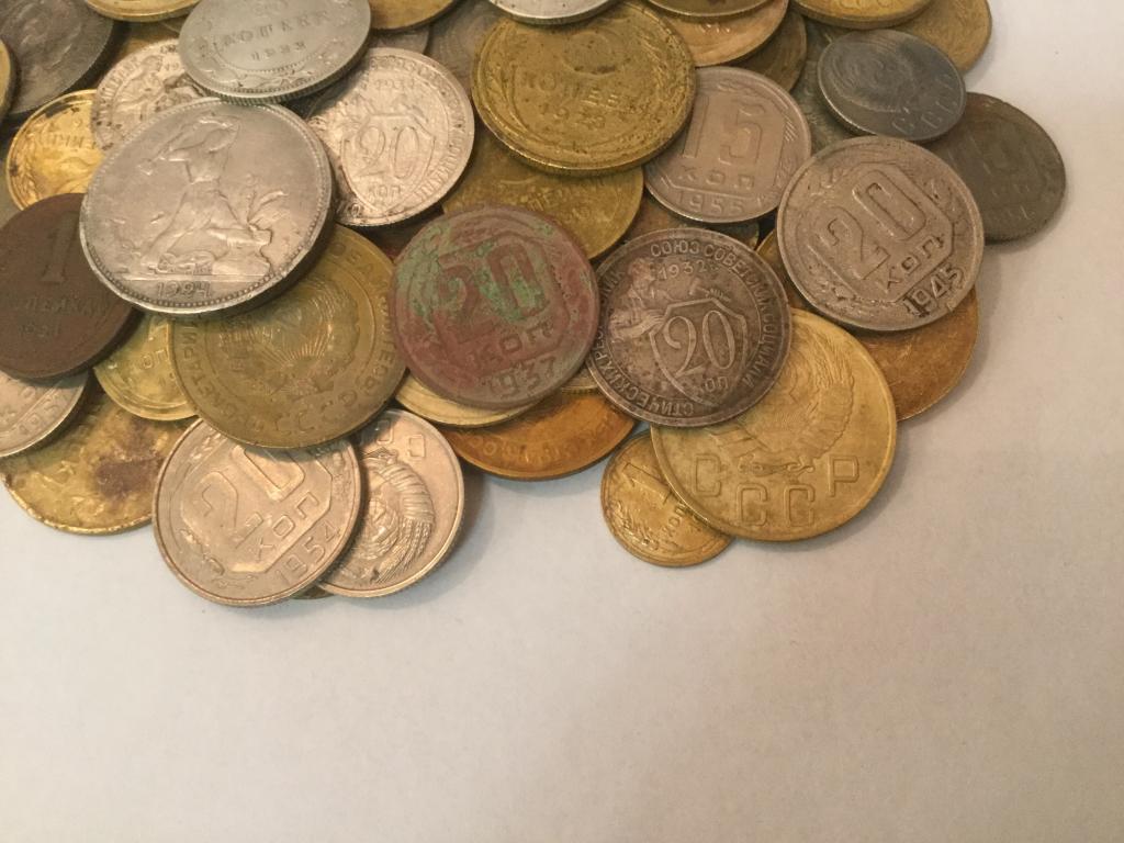 Лот  ранних советов, 100 шт, не перебирались, Есть нечастые и серебро!