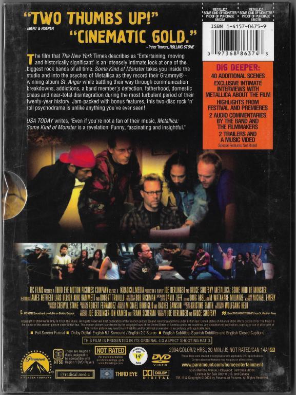 "Metallica ""Some Kind Of Monster"" DVD Запечатан!"