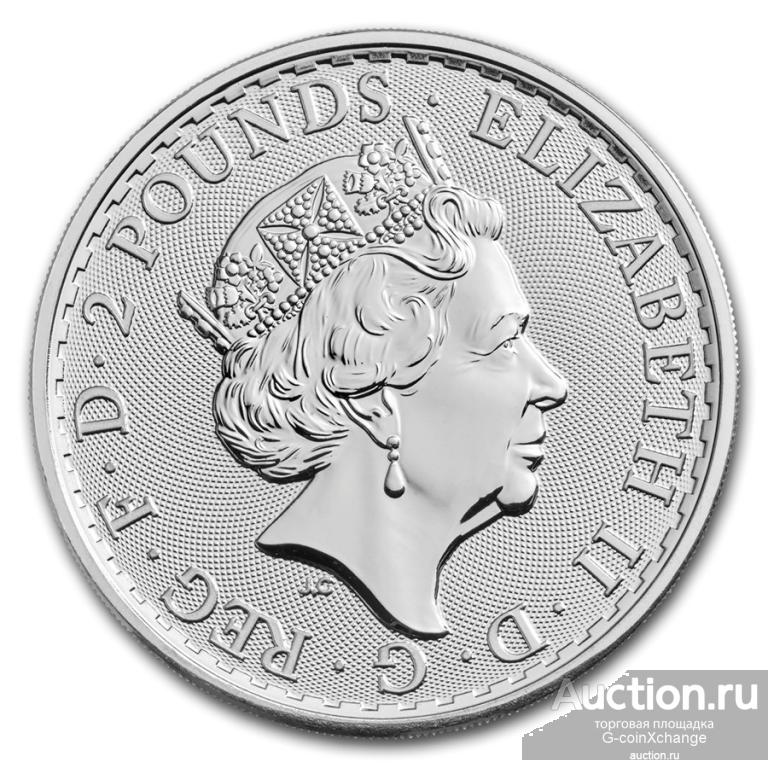Монета - Великобритания - 2 фунта - 2018 - Британия (2018) - Серебро 999 - 1 унция - АНЦ из тубуса