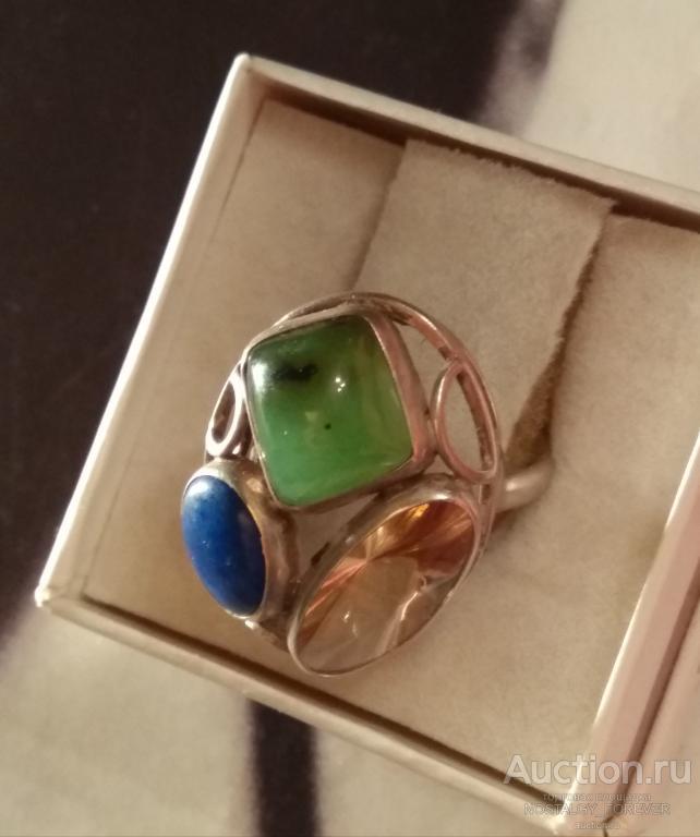 Кольцо нефрит лазурит цитрин серебро 925 винтаж