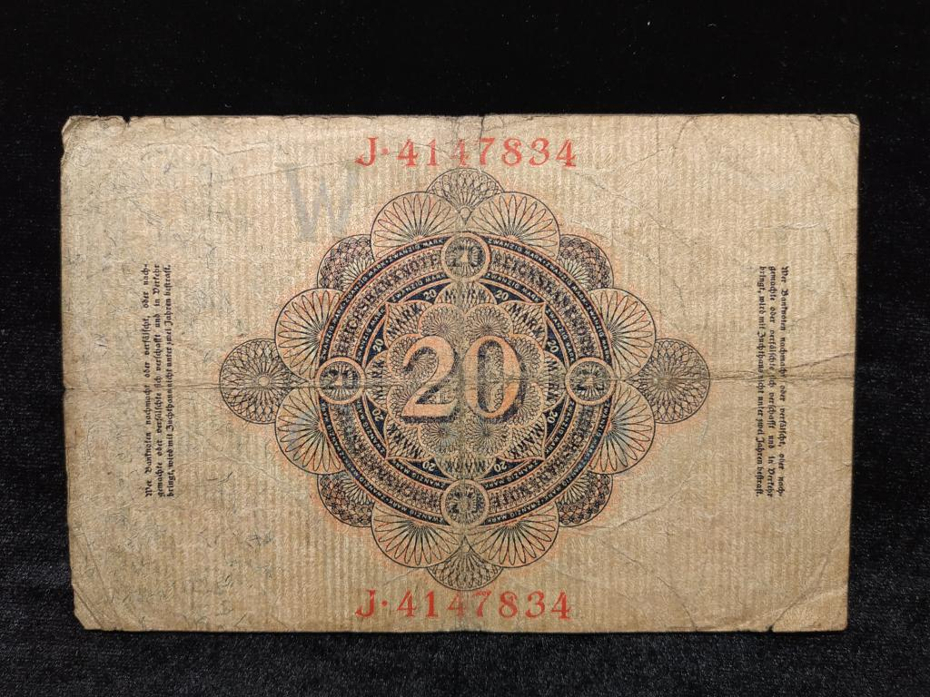 Банкнота Германия 20 марок 1914 года