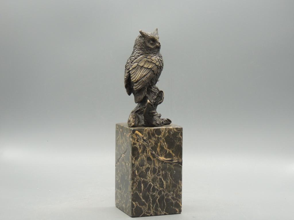Скульптура Сова Птица Мудрости Красивая Интерьерная  Бронза Мрамор 25 см С Рубля