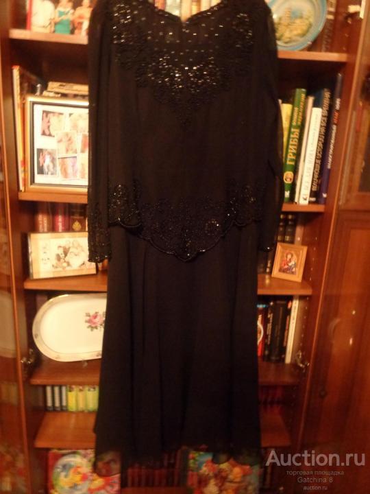 Винтаж. Шик. Платье  в пол. Шифон Ручная вышивка. Стеклярус. Бренд Rongfa. 54-56 размер