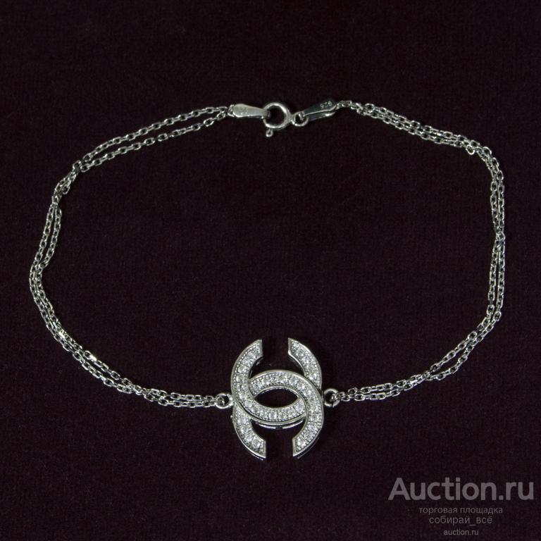Браслет с цирконами Две цепочки, серебро 925 пр, 4,5 гр, размер 21,5 см  (3)