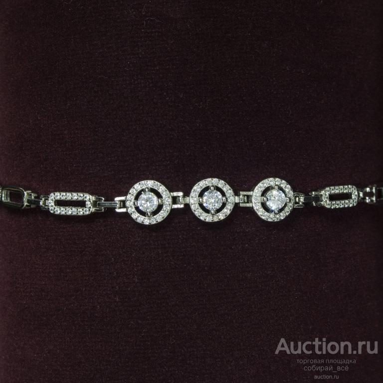 Браслет с цирконами Три больших камня, серебро 925 пр, 7,3 гр, размер 21 см  (2)
