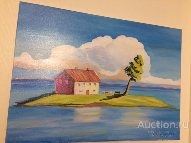 """картина пейзаж """"Домик на острове"""" акрил"""
