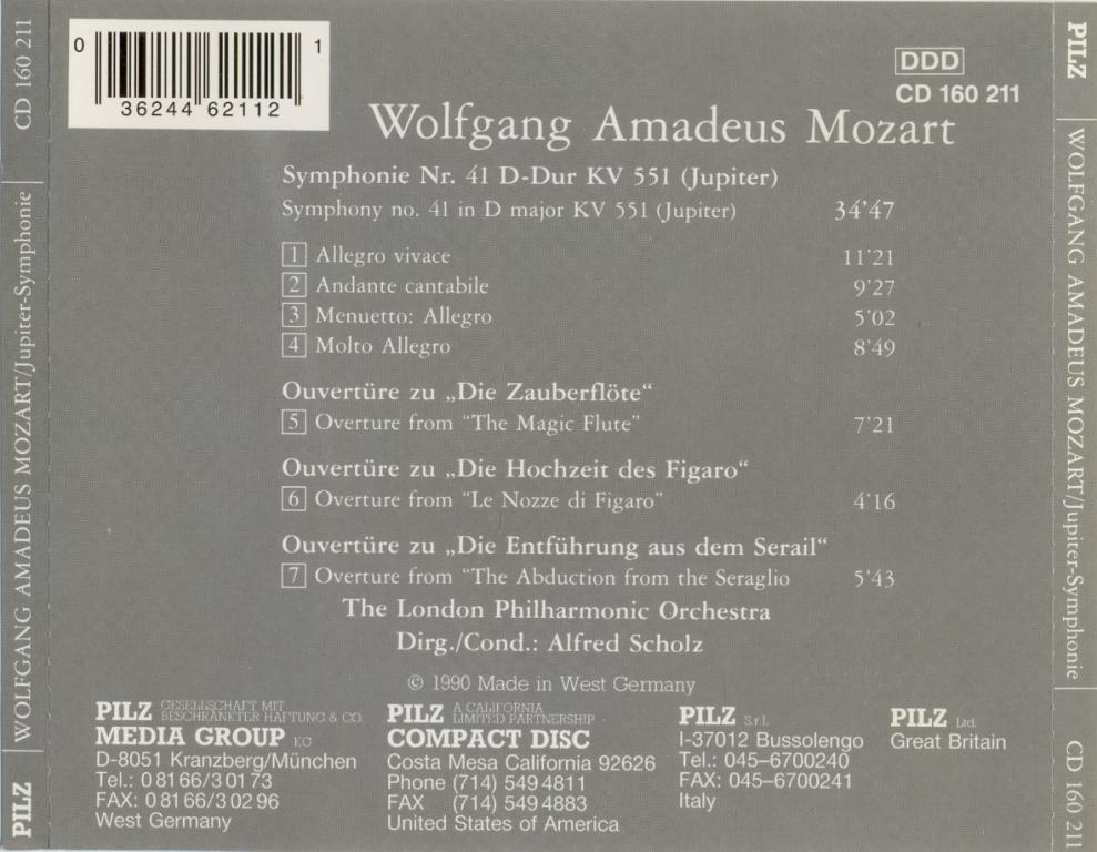 MOZART - London Philharmonic Orchestra, Alfred Scholz – Jupiter-Symphonie 1990 W.Germany