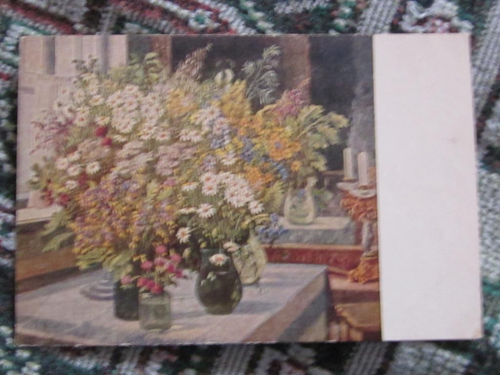 Открытка полевые цветы 1954 года, дня картинка