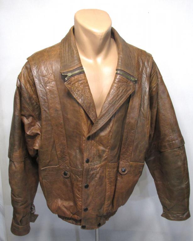 Куртка кожаная коричневая, L, Качественная, Отл сост!