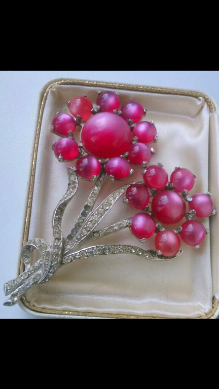 3305 брошь Двойной цветок CORO кабошоны кристаллы бижутерия винтаж США 1950
